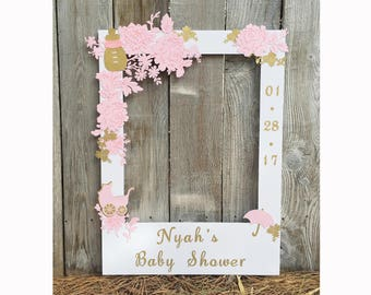 pink baby shower giant photo booth frame prop with pink and gold