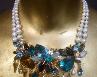 Spectacular Glittering Crystal & Pearl Necklace Designed by Erickson Beamon