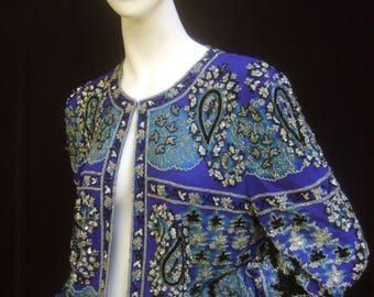 Exquisite Silk Glass Beaded Bolero Style Evening Jacket
