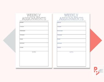 WEEKLY ASSIGNMENTS Mini Happy Planner Printable Inserts, Create 365, Happy Planner Page, Happy Planner Mini, MAMBI Planner, Instant Download
