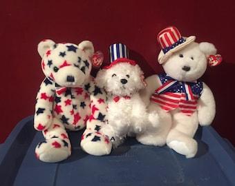 All American Trio -  Beanie Buddies - Beanie Babies - TY