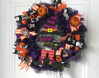Halloween Wreath, Halloween Wreath With Witches Legs, Halloween Witch Wreath, Halloween Spider Wreath, Black Wreath, Happy Halloween