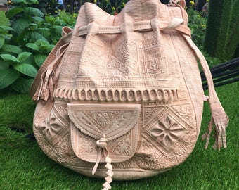 Leather bag embossed