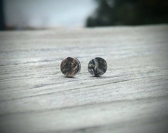 Tiny Moon Studs * Moon Jewelry * Full Moon Earrings * Textured Circle Earrings * Reticulated Texture * Metalsmith Jewelry * Handmade Studs