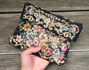Beauty Bag, Clutch, flower embroidery, vintage embroidery