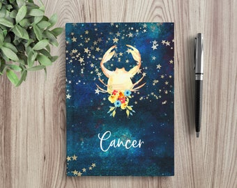 Custom Writing Journal, Personalized Notebook, hardcover, zodiac sign, astrology, watercolor stars, night sky, Blank or Lined - Cancer