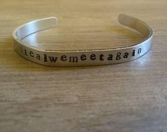 Hashtag tealwemeetagain/cuff bracelet/aluminum cuff/hand stamped/metal bracelet