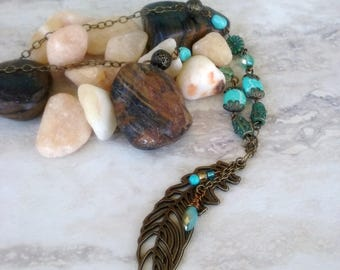 Large Feather Turquoise Necklace