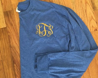 Long sleeve monogrammed shirt, personalized gift, sorority, greek, embroidered monogram