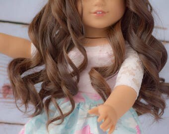 "Custom Doll Wig for 18"" Dolls American Girl Doll Heat Safe - Tangle Resistant - Wig cap 11"" GOTZ Journey Girls My Life Our Generation"