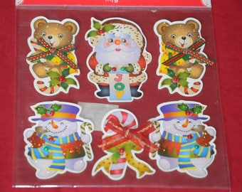 set of 6 Christmas themed wall decal stickers