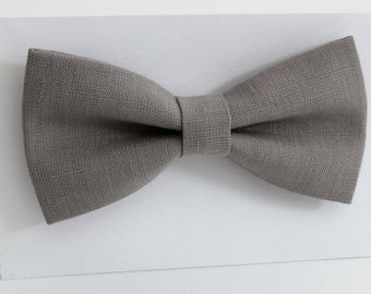 Gray  linen bow tie, wedding necktie, linen necktie,  groomsmen necktie,   Gray necktie, bow tie for men