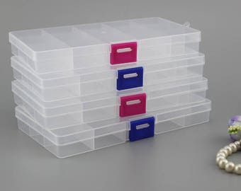 Plastic Storage Container / Compartments Plastic Jewelry Box (15 Grid)