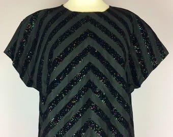 Vintage 60's black taffeta with raised flocked glitter velvet stripes
