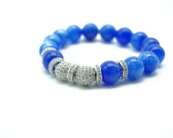 Blue Lapis Beaded bracelet Charms Pave