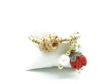 Leather braided pearl and elephant charm