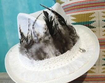 White cowboy hat  Straw hat  Boho hat  handmade hat  Sun hat  Summer hat  Chapeau de paille  Sombrero de paja  Gifts for her  women hats