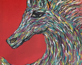 """Wild Thunder"""" Horse Head Painting Original Art by CLTreat"""