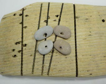 """4 Naturally Holed Beach Stones 3.1-3.7cm/1.2-1.45""""  Hag Stones - Pebbles With Natural Hole  - Odin Stone Talismans #82"""