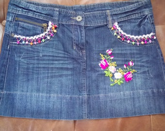 Upcycled denim skirt size 14