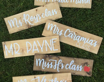 Custom TEACHER NAME Hand lettered Plank classroom sign, teachers gift