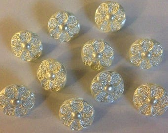 100 x Small Cream Pearl Flower Buttons With a Shank. Size approx. 13mm