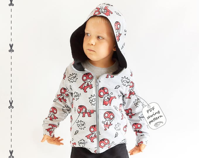 Featured listing image: Hoodie sewing pattern PDF download, baby sewing patterns, kids sewing pattern