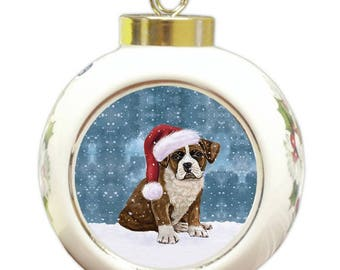 Let it Snow Christmas Holiday Boxer Dog Wearing Santa Hat Round Ball Ornament