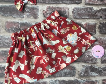Alice in wonderland skirt/ Alice in Wonderland baby/ vintage style skirt/ Alice in Wonderland clothes/ birthday party skirt/ tea party skirt