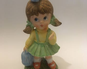 Vintage easter decorations etsy homco girl figurine girl with bird and cage easter decorations gifts vintage negle Gallery
