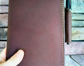 """Leather Moleskine Large Journal Cover Pen Pocket, Large Notebook Cover, Leather Journal Cover, Leather Notebook Cover, 5"""" x 8.25"""" Dark Brown"""