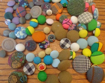 100 Vintage Cloth Buttons Vintage Buttons Colorful Button Mix Cloth Buttons Vintage Buttons Lots of Buttons