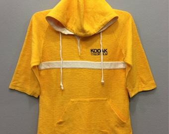 Vintage Kodak Color Film Hooded Sweatshirt Short Sleeve Yellow Color Streetwear Clothing Small Size Unisex Adult