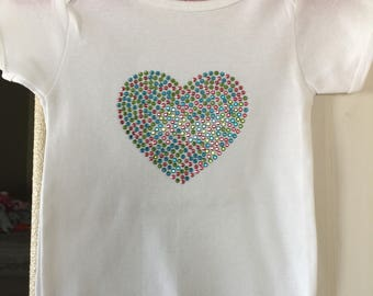 White multi colored heart shirt