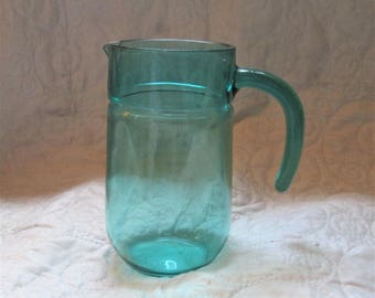 Vintage French Pitcher, water pitchers, wine vessels, dining table, glass vases, turquoise glass