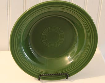 Vintage FIESTA WARE Deep Plates / Bowls -- Fifties Forest Green  --by Homer Laughlin Co.