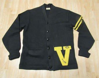 Vintage Lettermans varsity sweater jacket V 50's size 44 medium large H. L. Whiting Co.