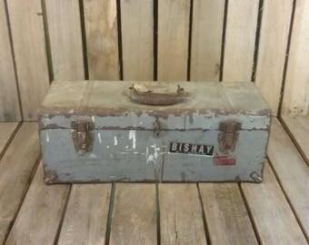Vintage Metal Toolbox, Rustic Tool Box, Rusty Toolbox, Vintage Metal Tool Box With Tray,