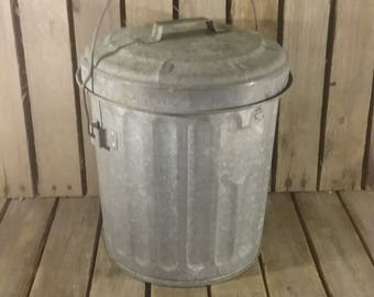 Metal Trash Can, Vintage Metal Trash Can, Small Vintage Trash Can,