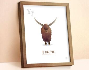 Yak Print | Nursery Animal Print | Alphabet letters | Alphabet Print | ABC letters | Animal Prints for Nursery | Nursery Wall Art | Yak Art