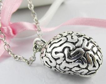 3D Super Brain Zombie Brain Sweater Necklace Charm Pendant Chain Necklace 75cm