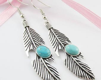 Boho Chic Antique Silver Turquoise Feather Charm Hook Earrings 65mm