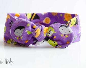 Halloween Top Knot Headband / Baby Headband / Knot Baby Headwrap / Halloween Headband / Tie knot Turban Headband /Baby Shower Gift/UK Seller