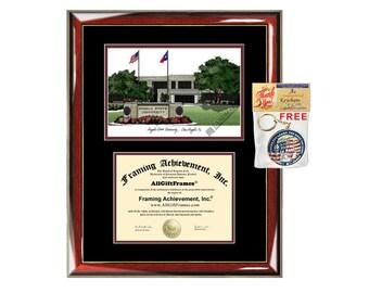 asu diploma frame  angelo state university diploma frames asu lithograph frame certificate framing campus sketch graduation degree gift college