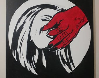 LARGE Satan love pop art painting
