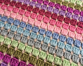 Handmade crochet striped blanket