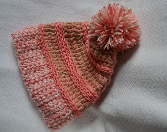 Strawberry/Crochet/hat/beanie/slouchy/teen/adult/pom pom/Ready to ship/pink/white/beige
