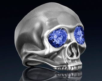 Sterling silver skull ring created sapphires, fine quality handmade mens rock n roll jewelry.  Our JIMI ring was inspired by Jimi Hendrix.