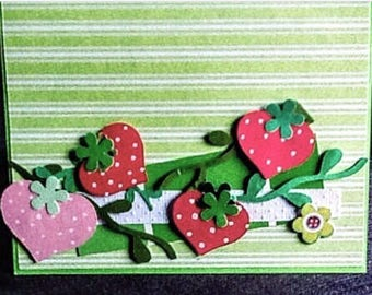 Strawberries on Vines Note Card