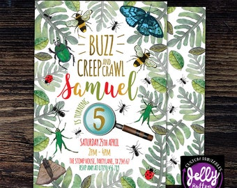 Buzz Creep and Crawl Birthday Bug Invitation